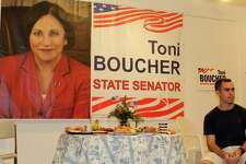 A photo of State Senator Toni Boucher hangs in the office of The Wilton Republican Town Committee on Danbury Road in Wilton. Photo taken on Aug. 4.