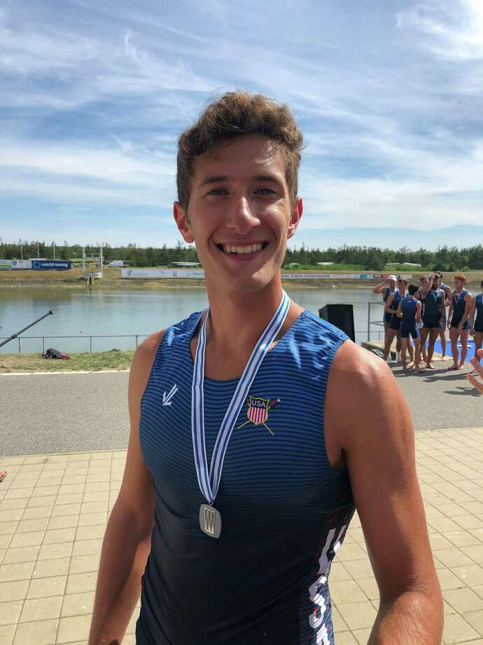 Westport's Harrison Burke won a silver medal in the Men's 8+ boat at the U.S. Rowing World Junior Championships in Prague, Czech Republic. This was the third year medaling at the World Junior Rowing Championships for Burke. Photo: Contributed Photo /