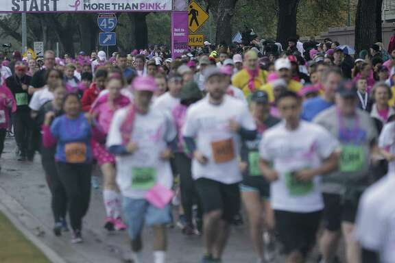 Participants in the annual Komen Breast Cancer walk/run on Saturday, Jan. 27, 2018, in Houston. The event, which is traditionally in October, was rescheduled because of Harvey. ( Elizabeth Conley / Houston Chronicle )