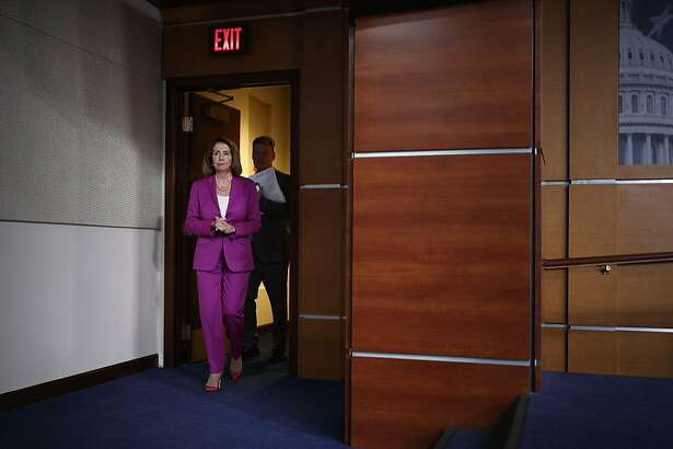 FILE -- House Minority Leader Nancy Pelosi (D-Calif.) arrives for a news conference on Capitol Hill in Washington, June 21, 2018. Pelosi, is confronting threats from different corners of her party, and attacks from Republicans, in a test of her hold on her caucus. (Tom Brenner/The New York Times)