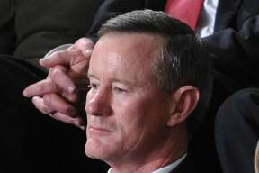 """(FILES) In this file photo taken on January 24, 2012, Admiral William McRaven, commander of the Joint Special Operations Command (JSOC), listens as US President Barack Obama delivers his State of the Union address before a joint session of Congress on Capitol Hill in Washington, DC. - William McRaven, commander of the US Navy SEAL raid that killed Osama bin Laden, condemned President Donald Trump on Thursday for revoking the security clearance of former CIA chief John Brennan and asked that his be withdrawn as well. The decorated retired Navy admiral, in an open letter published in The Washington Post, defended Brennan as """"one of the finest public servants I have ever known"""" and accused Trump of using """"McCarthy-era tactics."""" (Photo by Mandel NGAN / AFP)MANDEL NGAN/AFP/Getty Images"""