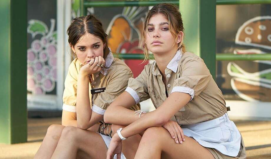 "Maia Mitchell, left, and Camila Morrone in ""Never Goin' Back."""
