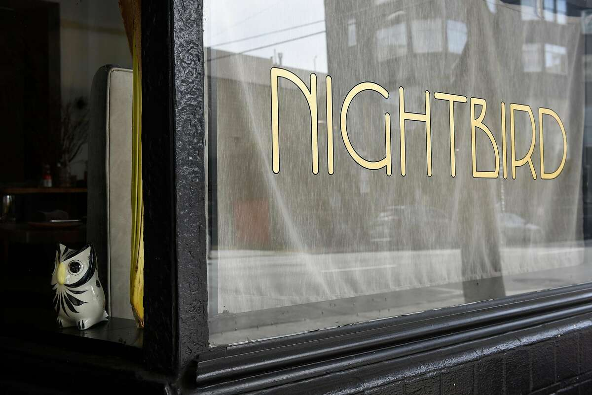 An owl figurine sits in the front window at Nightbird restaurant in San Francisco in 2018.