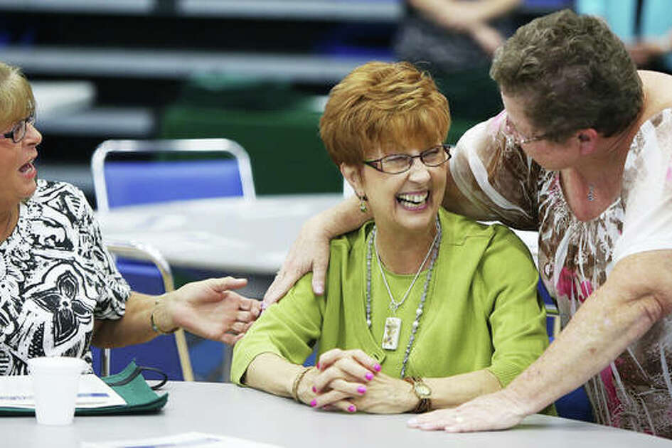 There was no shortage of laughs and catching up at the annual back to school breakfast for Alton teachers, held in the Riverbend Arena at Lewis and Clark Community College Thursday.