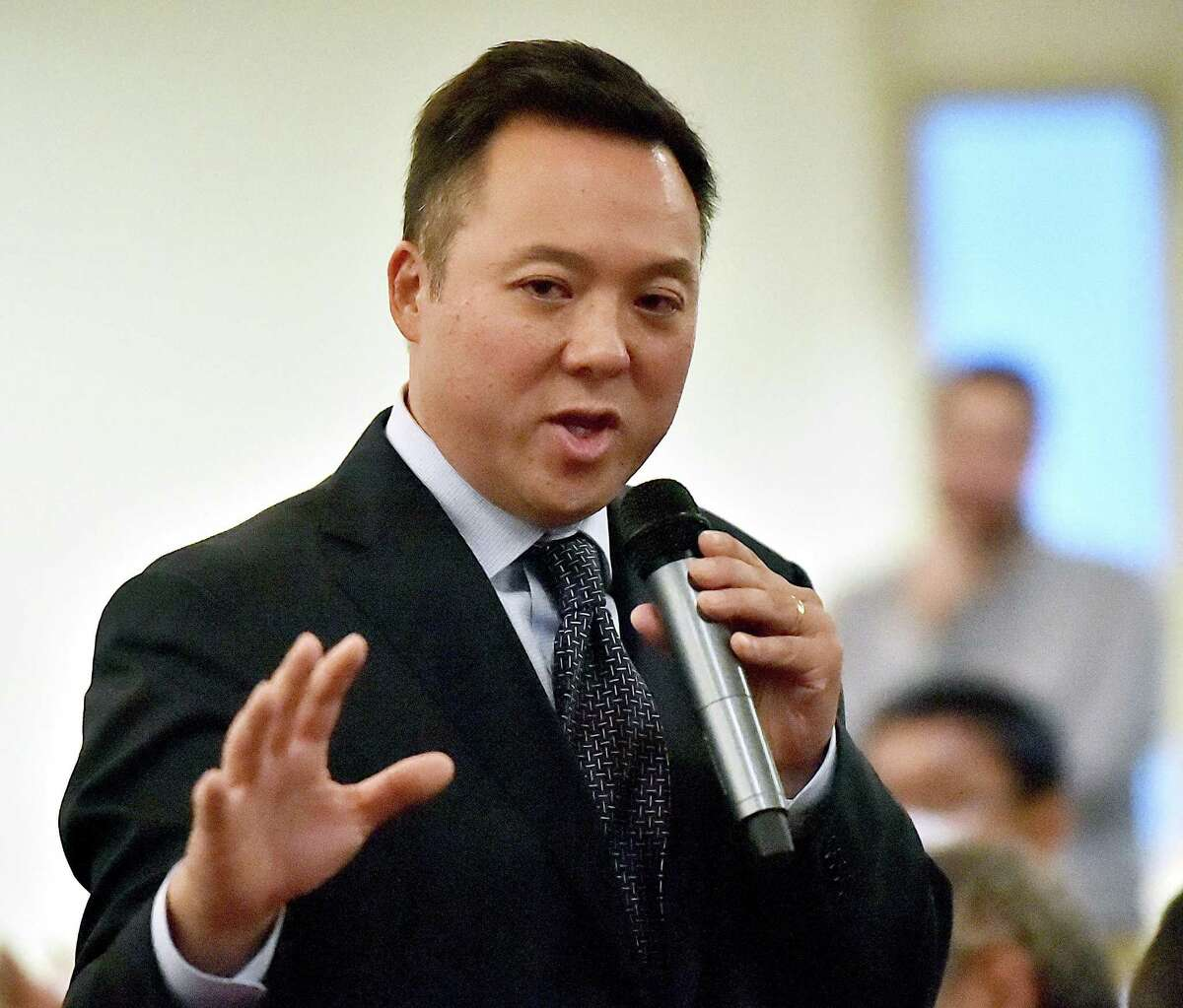 Democratic candidate for Attorney General William Tong, of Stamford goes head to head with Chris Mattei, of Hartford and Paul Doyle of Wethersfield Tuesday, August 7, 2018 at a debate hosted by the New Haven Independent and the CT Law Tribune at the Bethel African Methodist Episcopal Church in New Haven.