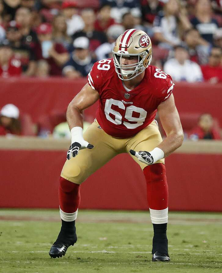 San Francisco 49ers offensive tackle Mike McGlinchey (69) against the Dallas Cowboys during an NFL preseason football game in Santa Clara, Calif., Thursday, Aug. 9, 2018. (AP Photo/Tony Avelar)