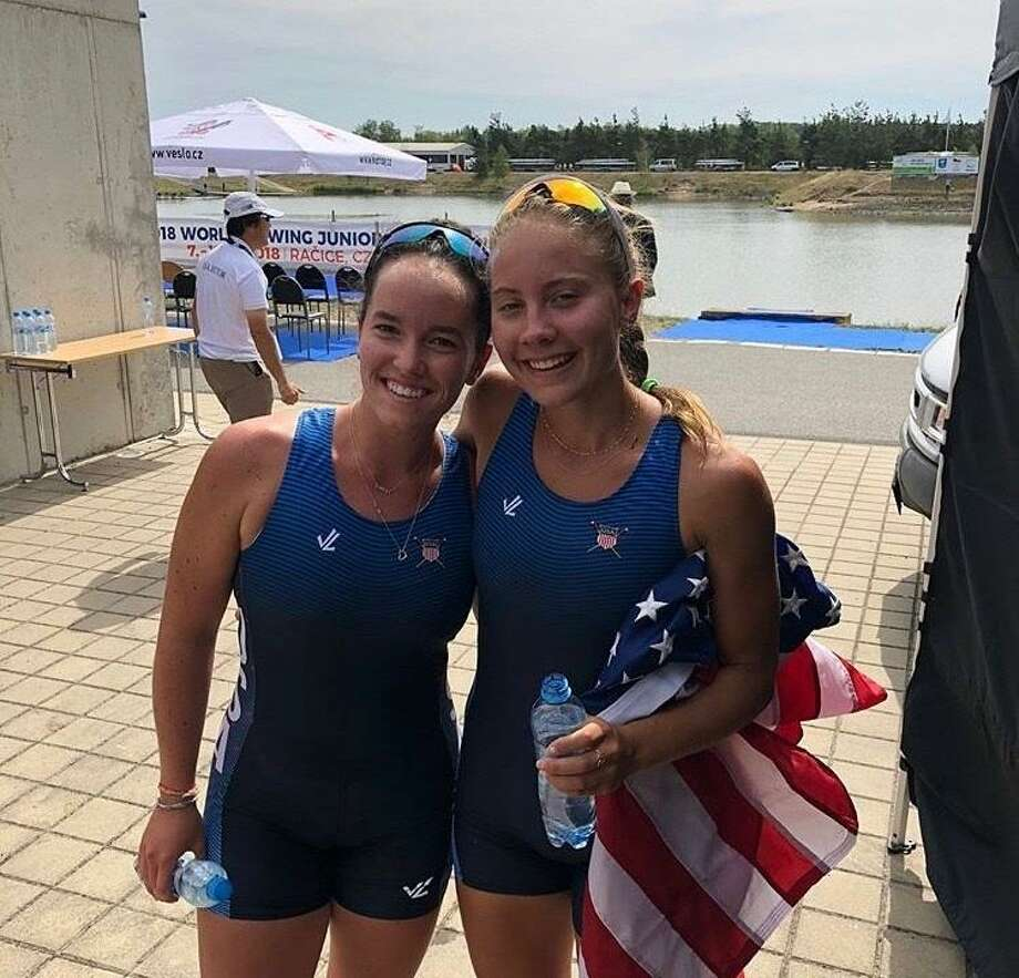 Caitlin Esse, left, and Lucy Koven placed second for the U.S. in the women's pair event at the 2018 Junior World Rowing Championships recently. Photo: David Fierro / Hearst Connecticut Media