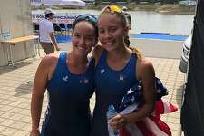 Caitlin Esse, left, and Lucy Koven placed second for the U.S. in the women's pair event at the 2018 Junior World Rowing Championships recently.