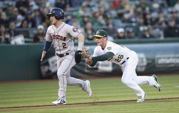 The A's Matt Chapman tags out Houston's Alex Bregman on May 7. The Astros have gone 6-0 at the Coliseum this season.