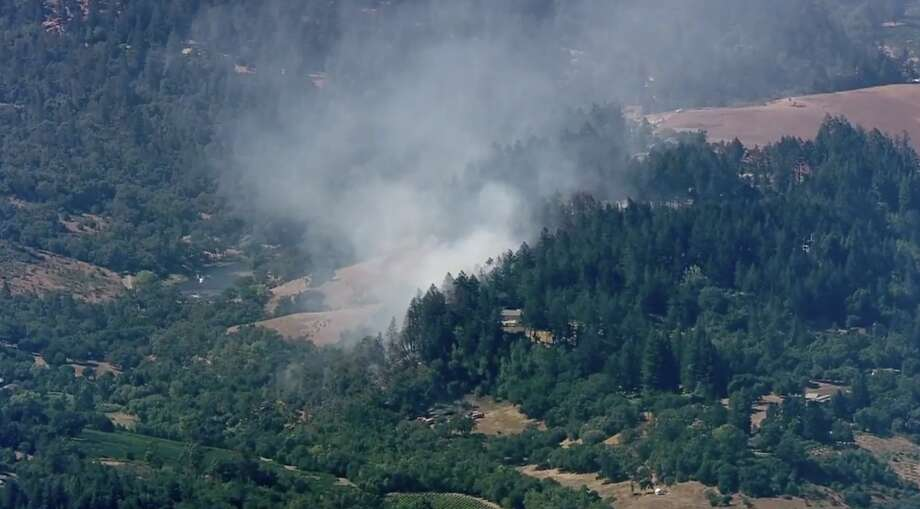 A vegetation fire just west of Madrona Manor in Healdsburg has prompted mandatory evacuations, officials announced Thursday afternoon. Photo: KTVU