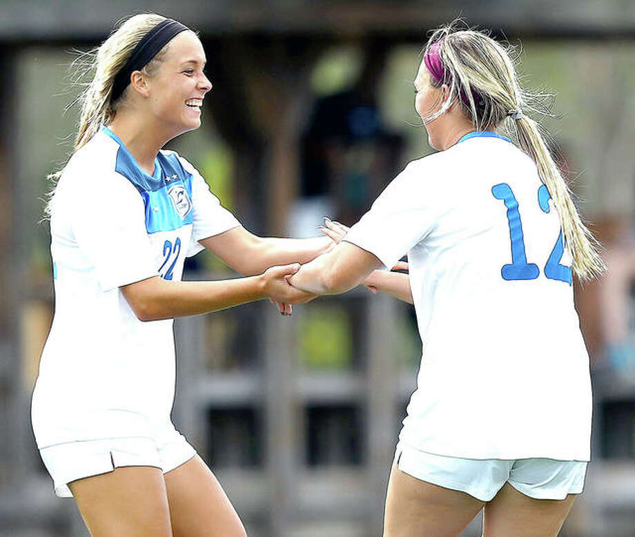 LCCC's Audrey Andrzejewski, left, and Kassidy Louvall celebrate a goal against Parkland last season. Both return this season for the Trailblazers, who will face McKendree in an exhibition game Monday in Lebanon.
