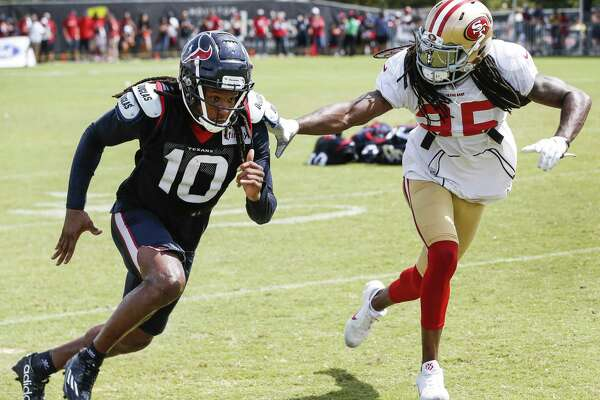 Two All-Pros, Texans receiver DeAndre Hopkins, left, and 49ers defensive back Richard Sherman, help each other become better.
