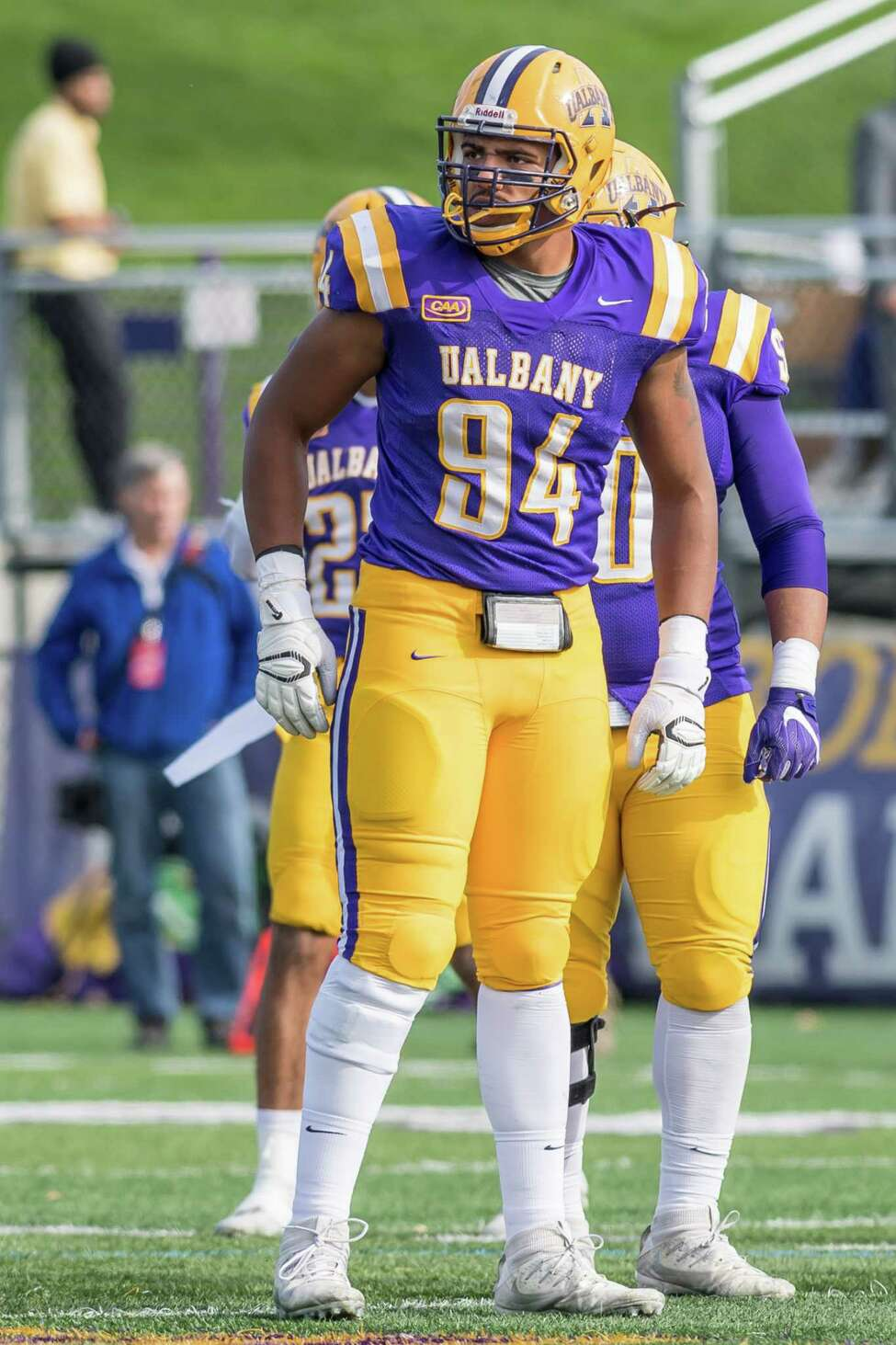UAlbany senior defensive end Nick Griffin. (Bill Ziskin / UAlbany Athletics)