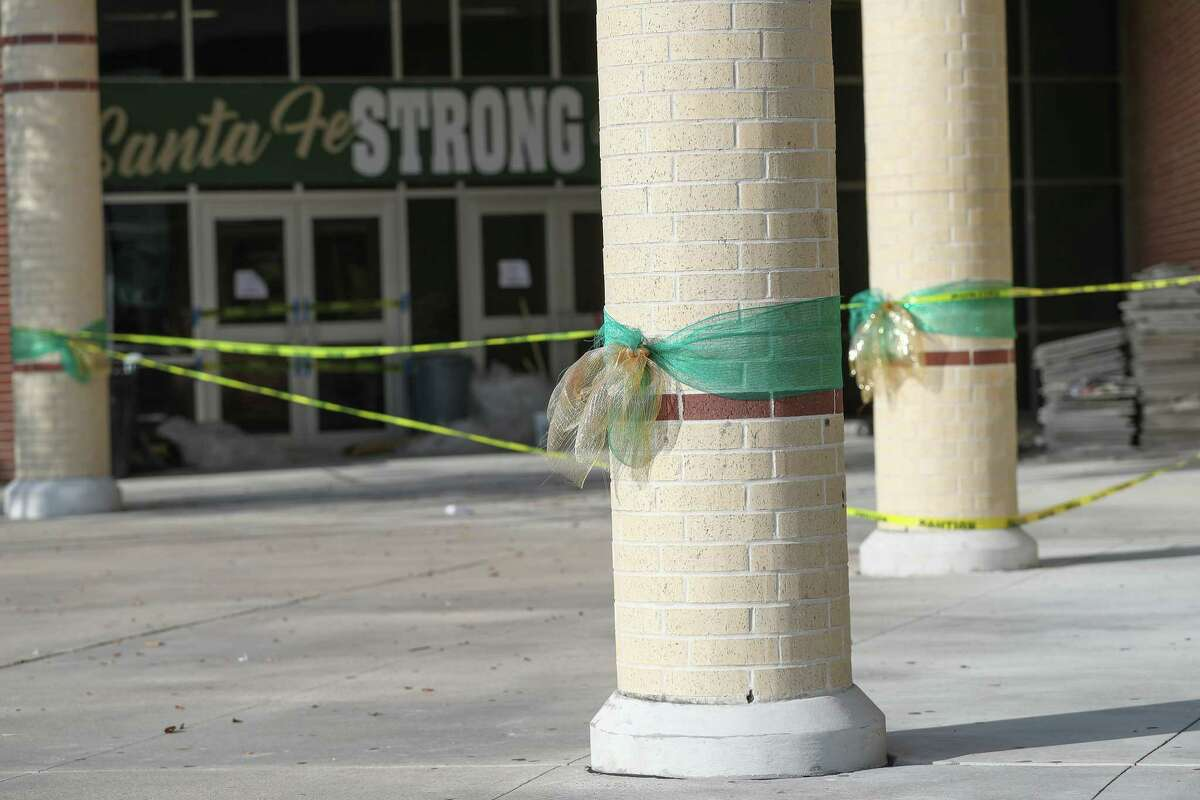The front entrance to Santa Fe High School is still under construction three days before students are scheduled to return.