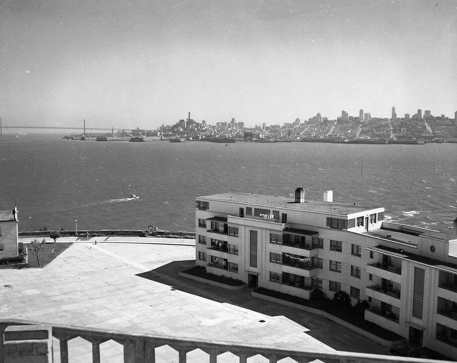 Alcatraz, shown on Sept. 3, 1952, provided a great view of San Francisco available to only the prisoners and the 300 or so employees and their families who lived on the island. Photo: Barney Peterson / The Chronicle 1952