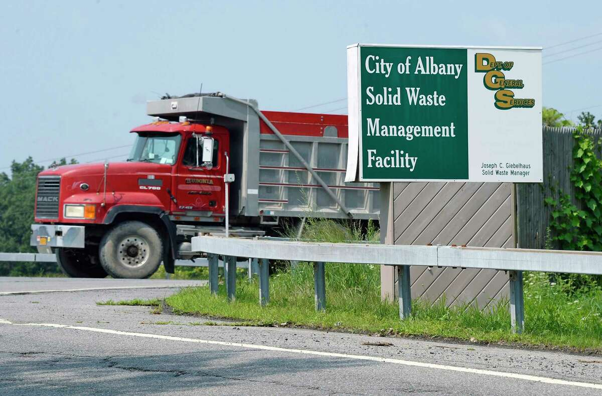 A truck leaves the Rapp Road Landfill Thursday August 16, 2018 in Colonie, NY. Albany officials now are projecting the Rapp Road Landfill won't close until 2026, giving the city more time to determine a long-term solution. Meanwhile, a pilot for a pay-as-you-throw system won't be launched next year, leaving things like the trash fee as status quo. (John Carl D'Annibale/Times Union)