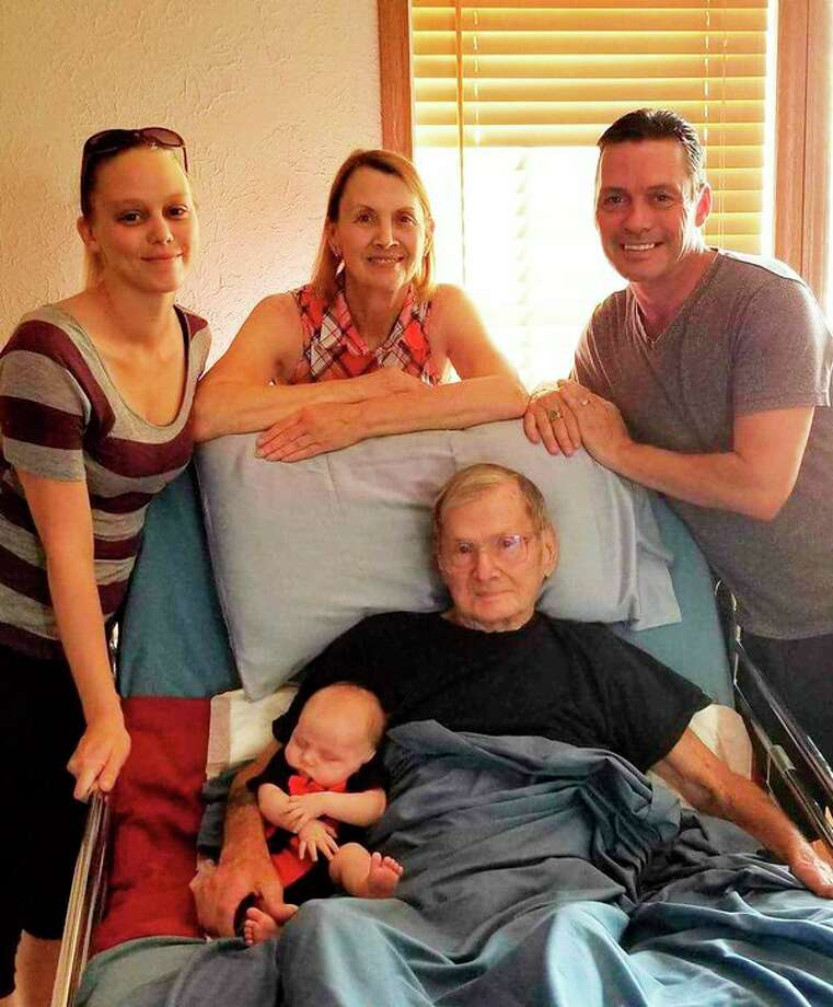 Edwin 'Bud' Osterhout, Daughter Gail, Grandson Paul, Great-Granddaughter Danielle and Great-Great-Grandson Kyler. (photo provided)