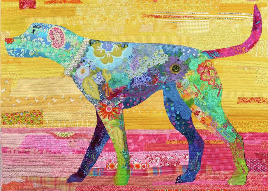 """Stratford, Connecticut, artist Christina Blais, who specializes in fiber art, collage quilts and art quilts, will be among dozens of vendors at Downtown Market: Stratford on Aug. 26. Here is her """"Happy Dog"""" quilt. Photo: Christina Blais / Contributed Photo / Connecticut Post contributed"""
