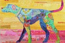 "Stratford, Connecticut, artist Christina Blais, who specializes in fiber art, collage quilts and art quilts, will be among dozens of vendors at Downtown Market: Stratford on Aug. 26. Here is her ""Happy Dog"" quilt."