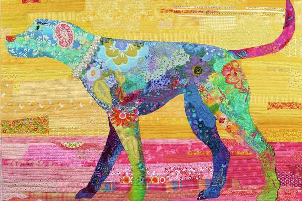"""Stratford, Connecticut, artist Christina Blais, who specializes in fiber art, collage quilts and art quilts, will be among dozens of vendors at Downtown Market: Stratford on Aug. 26. Here is her """"Happy Dog"""" quilt."""