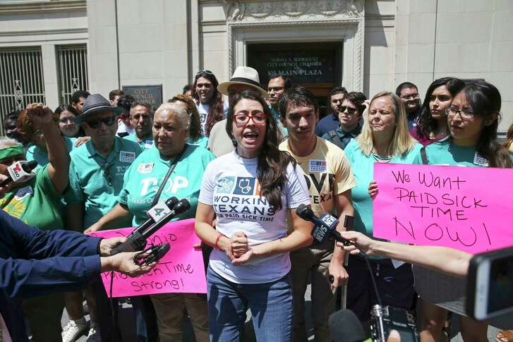 Joleen Garcia, with Working Texans for Paid Sick Time, speaks to media after the San Antonio City Council votes 9-2 for an ordinance mandating paid sick leave during their meeting, Thursday, August 16, 2018.