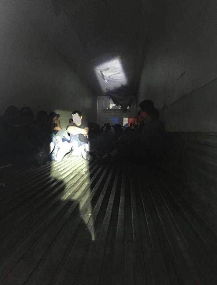 Border Patrol agents discovered 78 undocumented immigrants inside the locked refrigerated trailer. Photo: Border Patrol