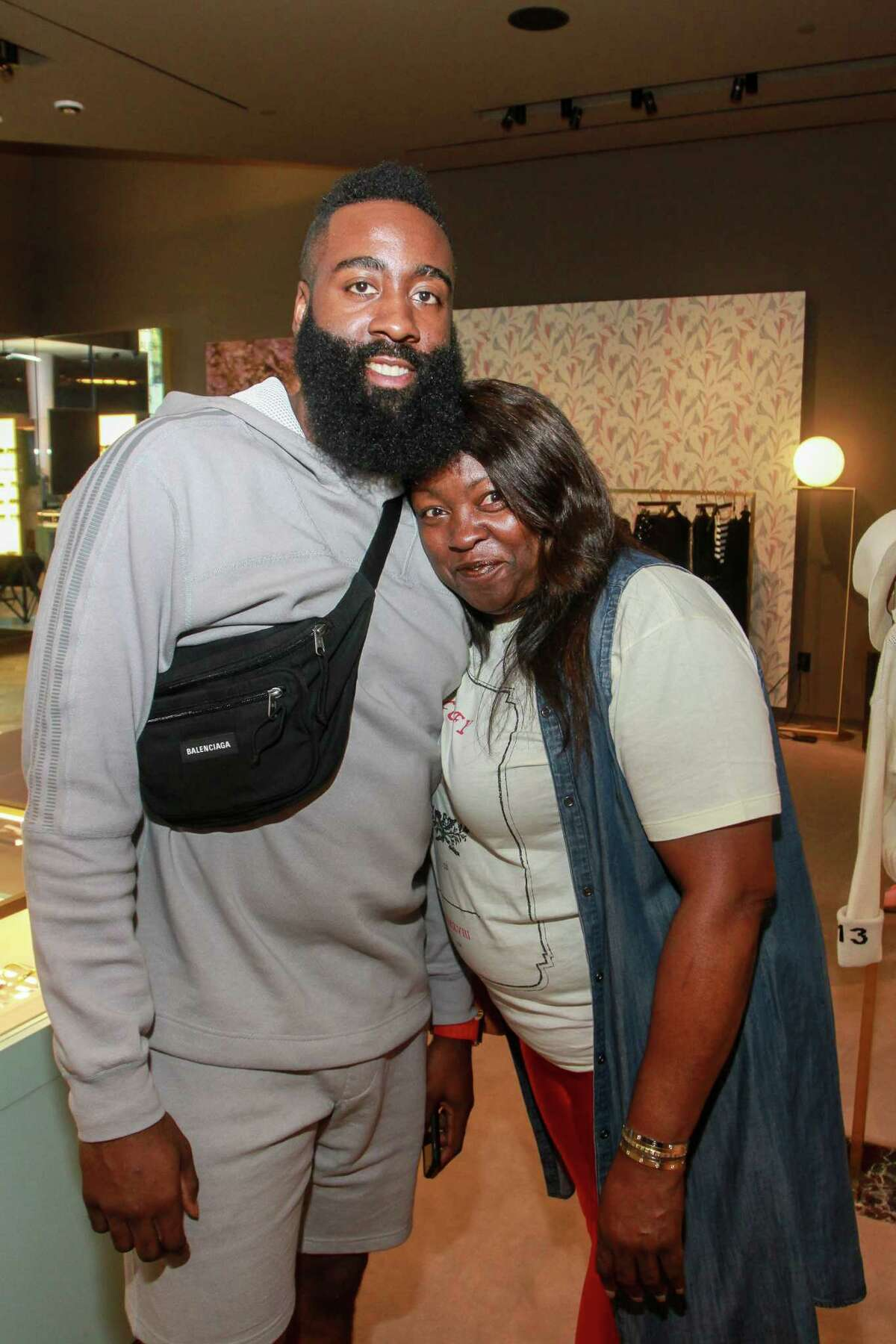 James Harden and his mother, Monja Willis at the James Harden Foundation VIP Kickoff at The Webster.