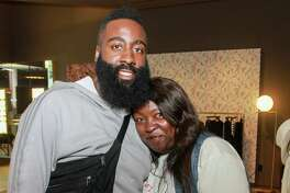EMBARGOED FOR REPORTER UNTIL 8.17 12PM. James Harden and his mother, Monja Willis at the James Harden Foundation VIP Kickoff at The Webster.