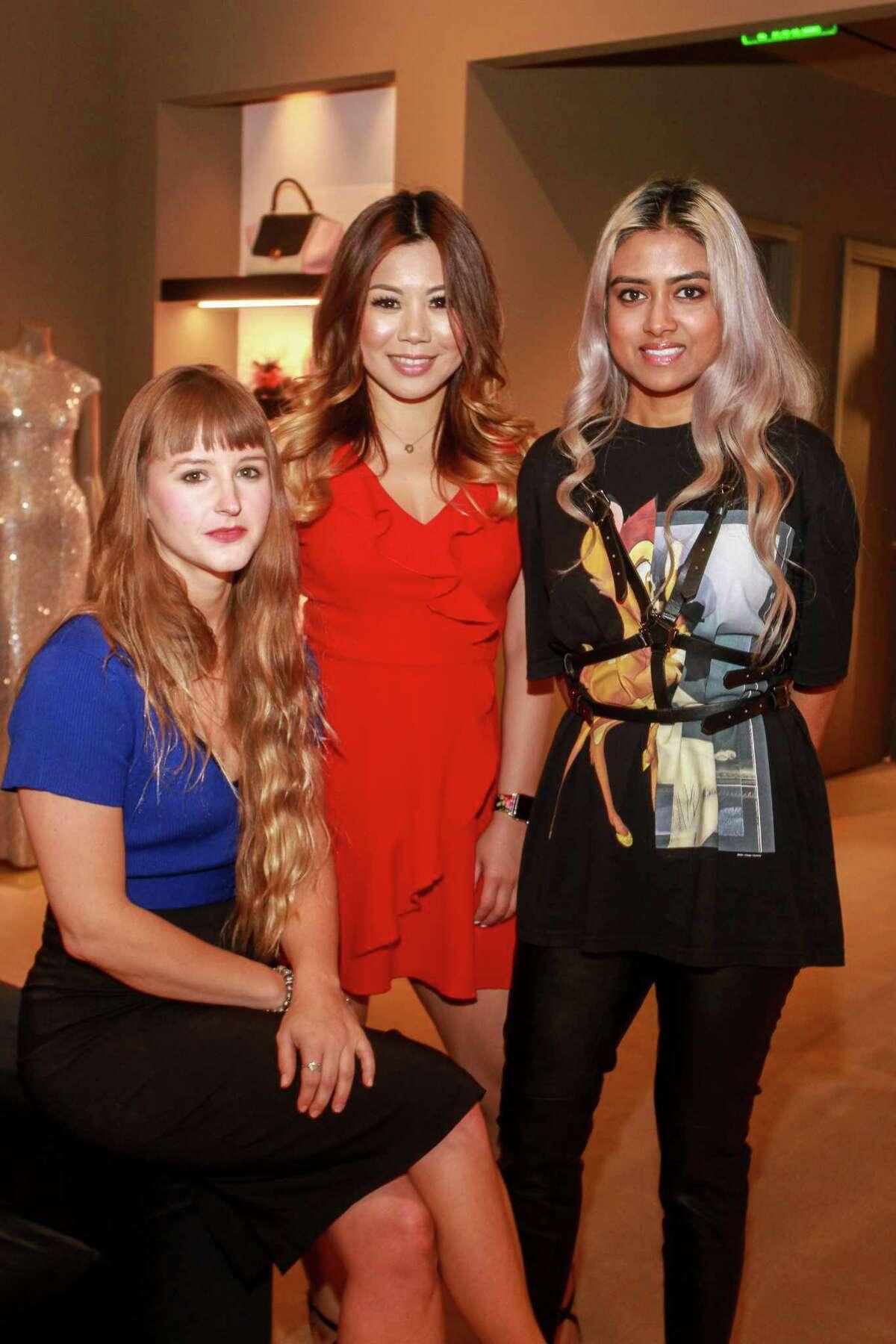 Eva Degenhardt, from left, Mandy Tseng and Ruchi Khan at the James Harden Foundation VIP Kickoff at The Webster.