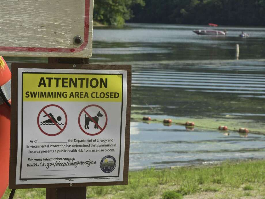 """A sign at the Kettletown State Park beach lists """"High Bacteria Levels"""" as people swim off their boat off the beach. Large cyanobacteria blooms in Kettletown State Park has closed the beach. Officials expect the blooms will keep the beach closed for the rest of the season. Thursday, August 9, 2019, in Southbury, Conn. Photo: H John Voorhees III / Hearst Connecticut Media / The News-Times"""