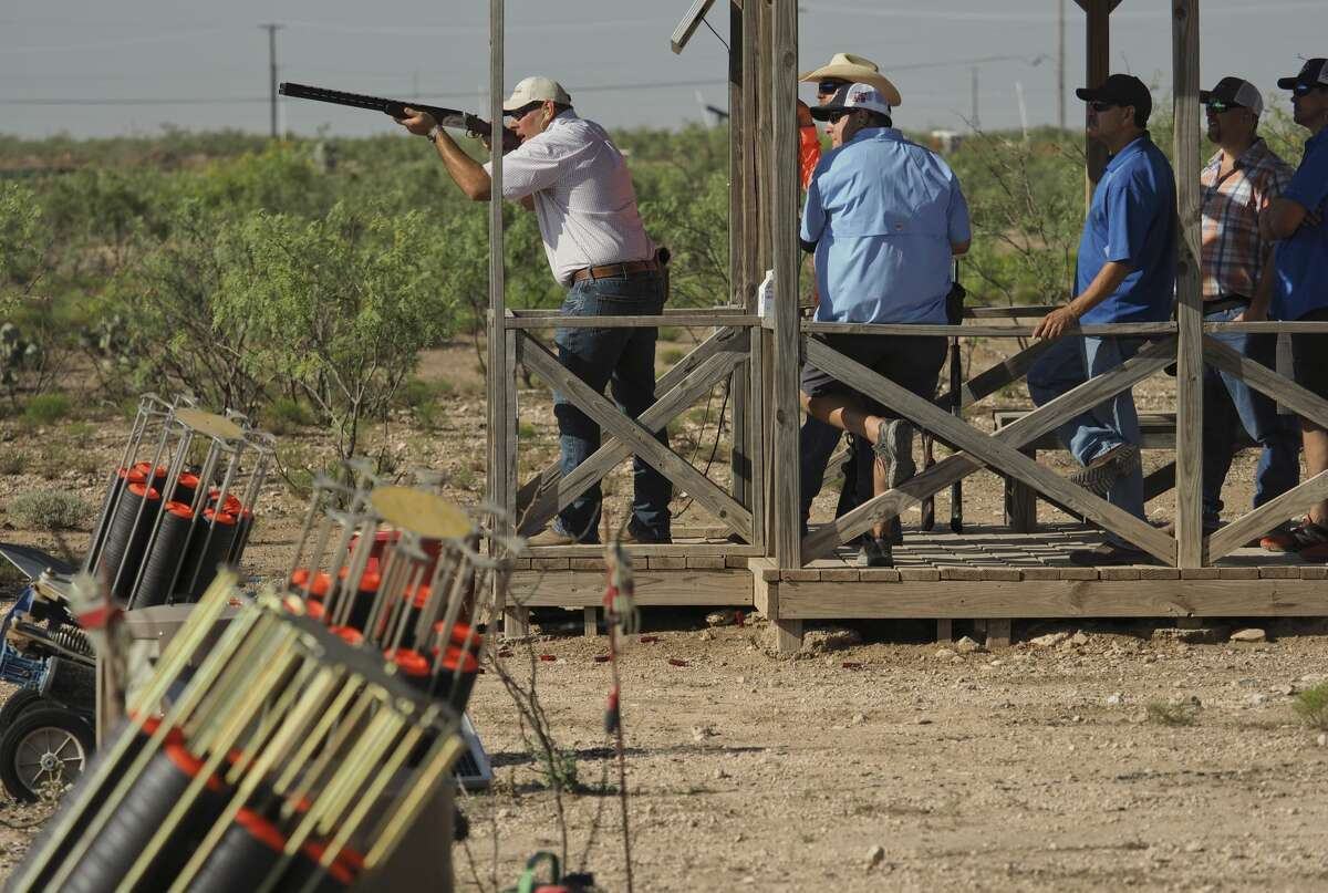 Michael Friday gets his clay pigeon in his sights as he and others help raise money at Bustin' Clays of United Way at Jake's Clays in 2018. Tim Fischer/Reporter-Telegram