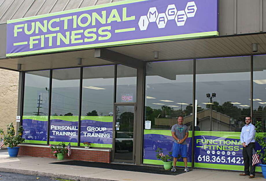 Functional Fitness Images owner Chad Campbell, left, and WBGZ's Adam Stutz, an ambassador for the RiverBend Growth Association, stand outside Chad's business located at 2712 Corner Court, Alton. Photo:       For The Telegraph