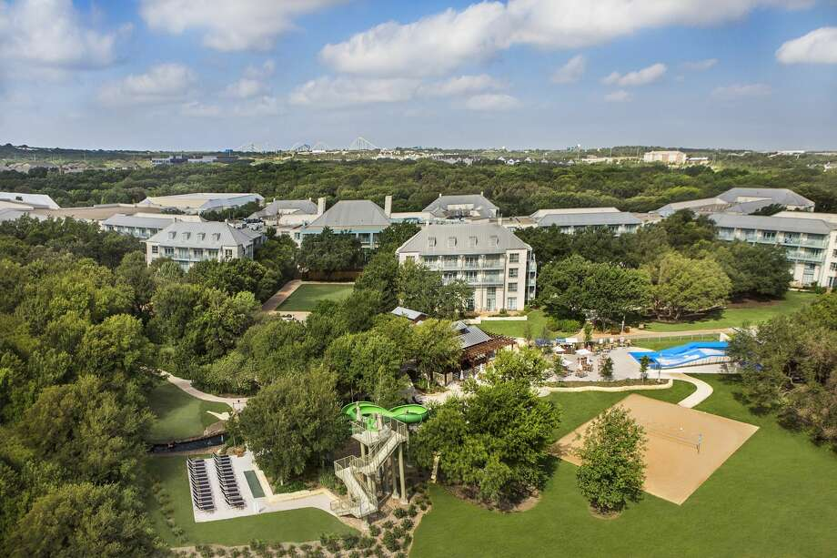 An aerial view of at the Hyatt Regency Hill Country Resort and Spa, which offers a five-acre water park with several pools, hot tubs and a lazy river and a surf and body board simulator. Photo: Courtesy Hyatt Regency Hill Country Resort And Spa