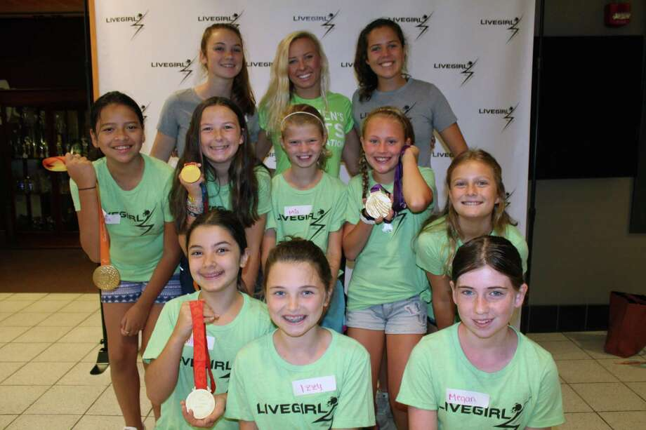 Jessica Long, back row center, the second-most decorated paralympic athlete, at Camp LiveGirl 2018. Camp LiveGirl was held July 23-27 at New Canaan High School and brought together 140 girls from across Connecticut.