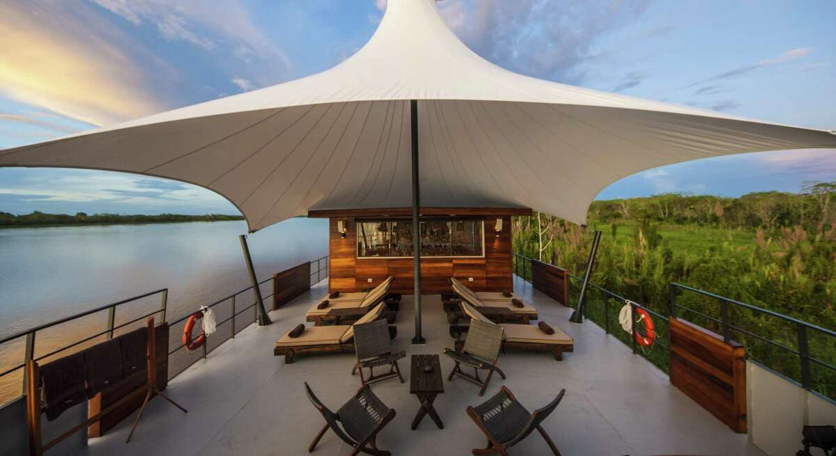 The outdoor lounge on the Aria Amazon