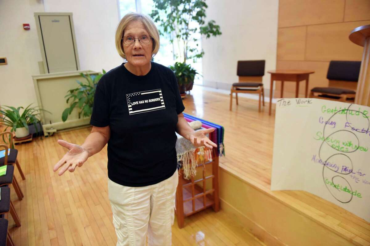 Retired military colonel Ann Wright speaks inside First Unitarian Church on Friday, Aug. 17, 2018, on Washington Ave. in Albany, N.Y. Ann is a guest speaker at the Kateri Peace conference on Saturday in Fonda. (Will Waldron/Times Union)