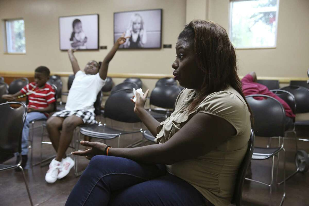 Deiadra Sturgis, 33, talks about her eviction during an interview at Haven for Hope, Aug. 15, 2018. The city's eviction rate says something about the economic well-being of the community.