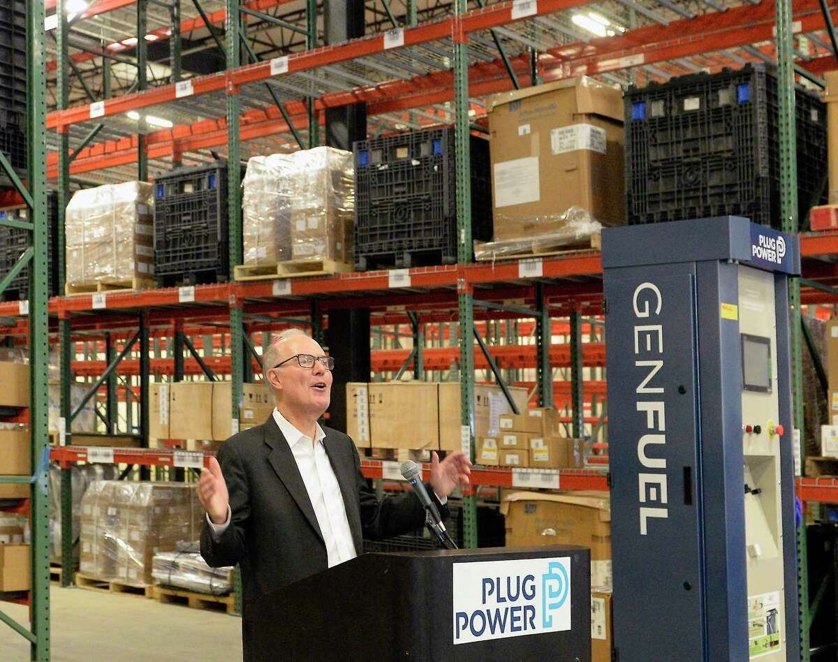 Plug Power CEO Andy Marsh speaks at the opening of their new warehouse and fuel cells assembly facility Friday August 16, 2018 in Clifton Park, NY. (John Carl D'Annibale/Times Union)