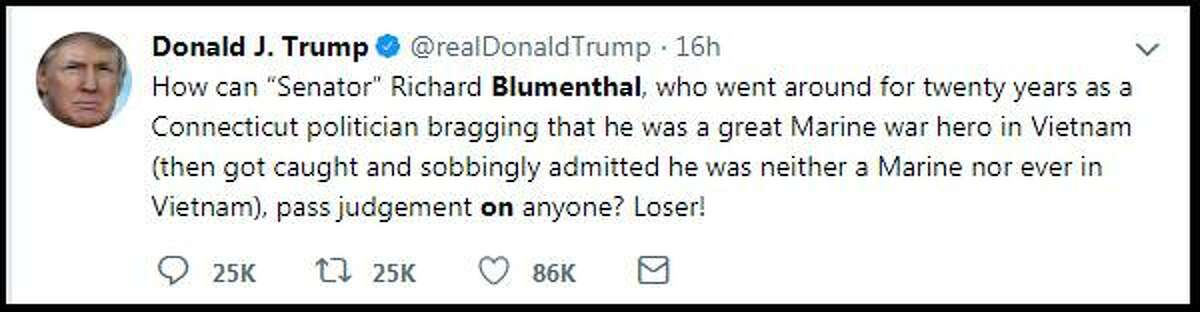 During a late-night tweet on Thursday, President Donald Trump, who avoided military service during the Vietnam War after he was diagnosed with bone spurs, attacked U.S. Sen. Richard Blumenthal, who served with the Marine Corps Reserves during that era.