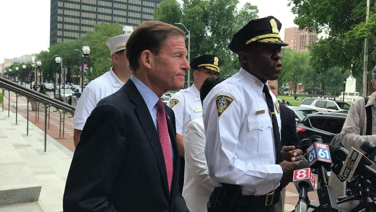 New Haven Police Chief Anthony Campbell provides updates on over 100 K2 overdoses this week in a press conference with U.S. Sen. Richard Blumenthal, D-CT.