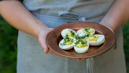 Deviled Eggs with Peas, Chives and Dill