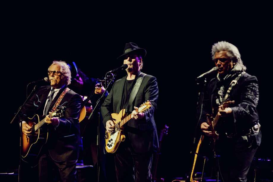 """Byrds founders, from left, Chris Hillman and Roger McGuinn perform with Marty Stuart for the """"Sweetheart of the Rodeo"""" 50th-anniversary show in July in Los Angeles. Photo: Photo For The Washington Post By Rozette Rago / Rozette Rago"""