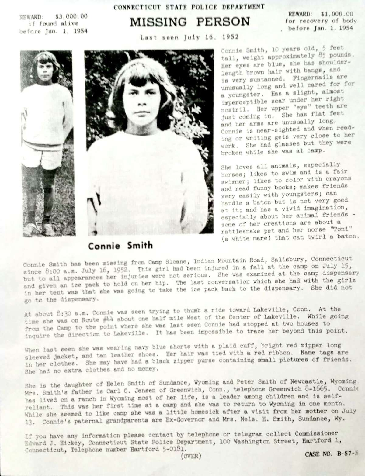 The disappearance of Connie Smith in 1956 remains unsolved to this day. Above, a 'missing' poster that was used during the search.