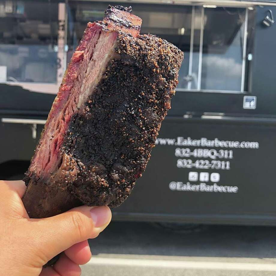 A mighty beef rib at Eaker Barbecue, a new barbecue food truck in Houston. Photo: Eaker BBQ Facebook