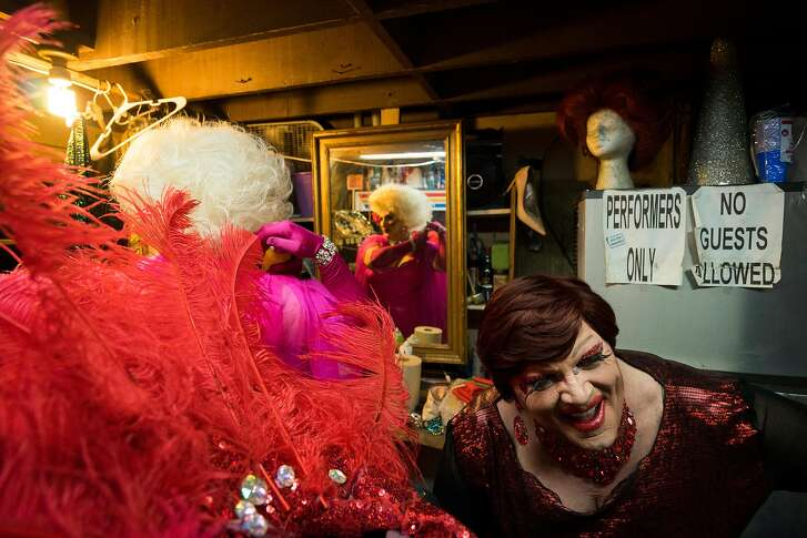 Sheena Rose and Olivia Hart get ready backstage for The Hot Boxxx Girls Drag Show in the Tenderloin neighborhood of San Francisco, Calif. on Saturday, August 11, 2018.