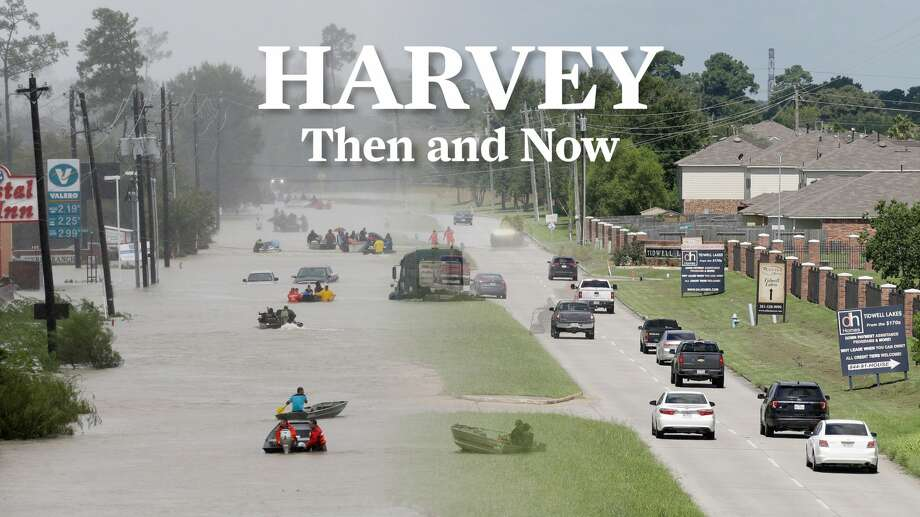BEFORE & AFTER PHOTOS: Harvey impact locations during the storm and one year later One year after Hurricane Harvey brutalized Houston with its historic rainfall and flooding, we sent our Houston Chronicle photographers back to several of the locations they captured to see how they look now. >>>See how some of the hardest hit Harvey spots in Houston look one year later ... Photo: Melissa Phillip/Houston Chronicle