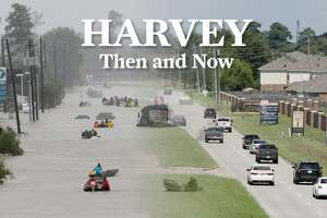 Rescue boats work along Tidwell, left, during the height of Hurricane Harvey. At right is Tidwell as it appears today.