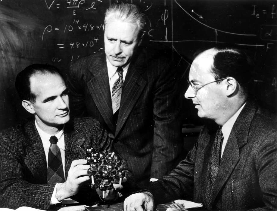 William B. Shockley is shown with co-Nobel Prize in Physics winners Walter H. Brattain (center) and John Bardeen on April 11, 1956. Photo: Ullstein Bild Dtl./ullstein Bild Via Getty Images / This content is subject to copyright.