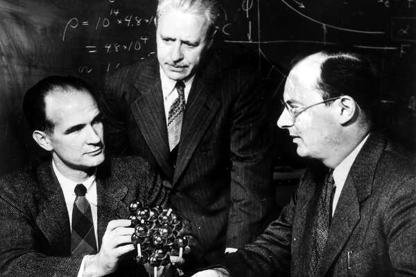 William B. Shockley is shown with co-Nobel Prize in Physics winners Walter H. Brattain (center) and John Bardeen on April 11, 1956,