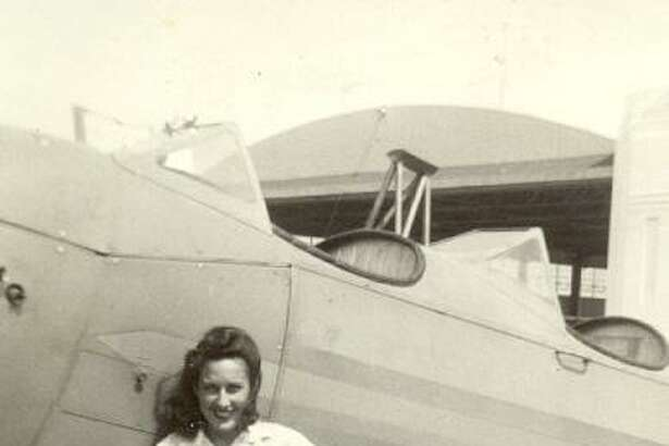 Celeste Graves at Municipal Airport (now Hobby Airport) in the 1940s.